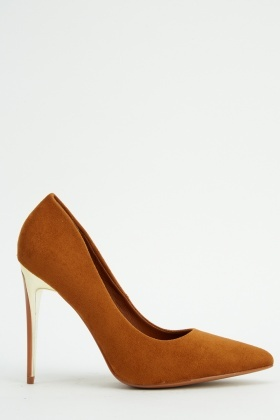 Metallic Heel Suedette Court Shoes
