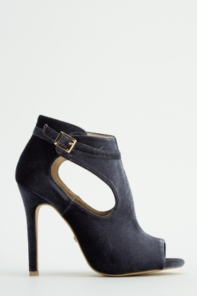 c0a349e1a Open Toe Velveteen Cut Out Heels - Just £5
