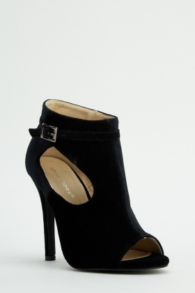 Open Toe Velveteen Cut Out Heels