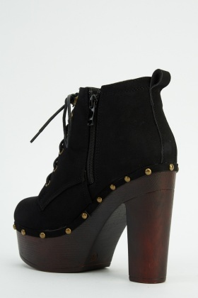 Studded Lace Up Heeled Boots