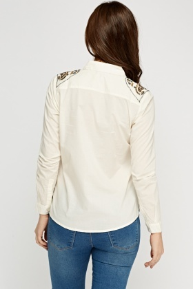 Beaded Shoulder Cream Casual Shirt