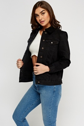 Borg Black Denim Jacket - Just £5