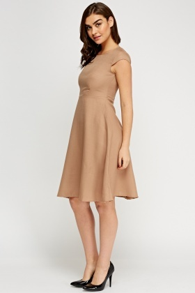 Cap Sleeve Midi Swing Dress