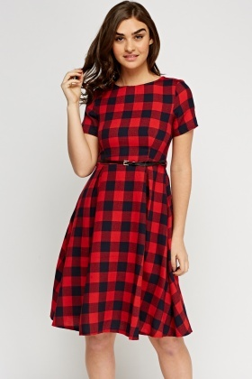 Checked Grid Belted Dress