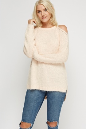 Cold Shoulder Eyelash Knitted Jumper