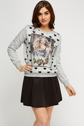 Embellished Print Casual Jumper