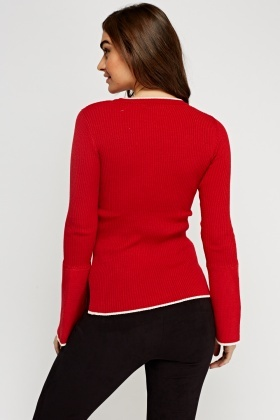 Flare Sleeve Knitted Red Top