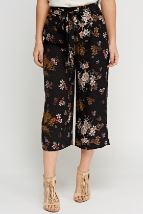 Floral Printed Black Culottes