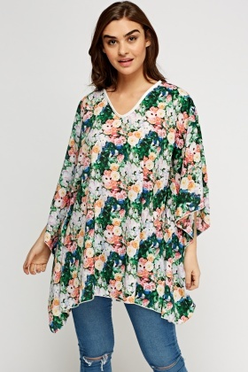 Green Floral Cover Up