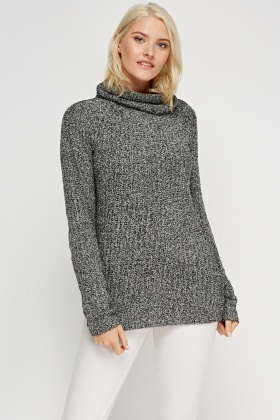High Neck Ribbed Knitted Jumper