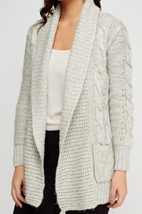 Knitted Longline Open Front Cardigan