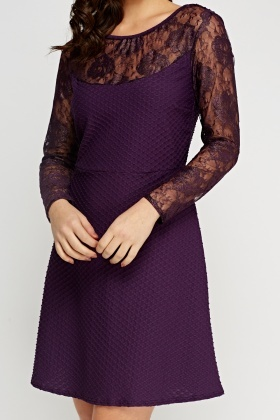 Lace Insert Purple Dress