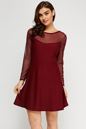 Mesh Insert Embossed Skater Dress