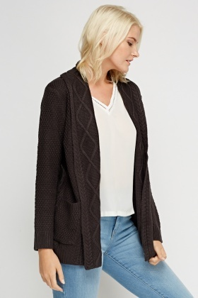 Open Front Knitted Longline Cardigan