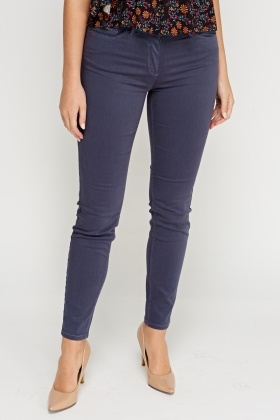 Skinny Fit Navy Trousers