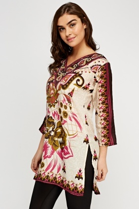V-Neck Printed Tunic Top