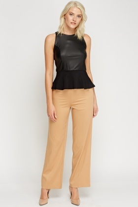 Wide Leg Button Detailed Trousers