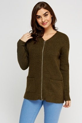 Zip Up Front Knitted Cardigan