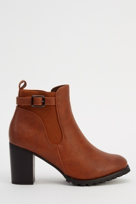 Block Heel Faux Leather Ankle Boots