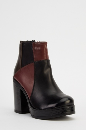 Colour Block Faux Leather Ankle Boots