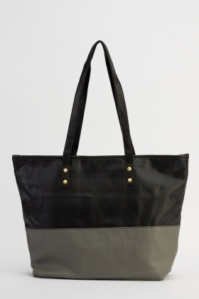 Colour Block Faux Leather Handbag