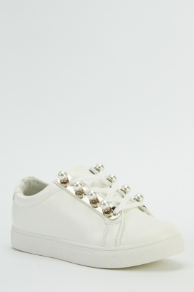 Embellished Pearl Low Top Trainers