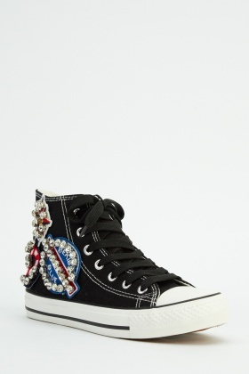 Encrusted Applique High Top Canvas Shoes