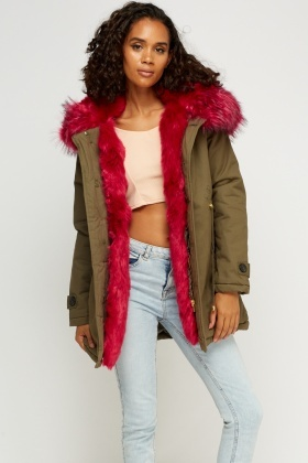 K.ZELL Faux Fur Trim Parka Jacket