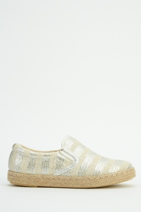 Stripe Metallic Espadrilles Shoes