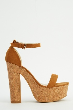 Suedette High Heel Cork Sandals