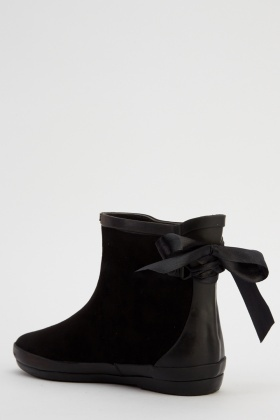Tie Up Back Suedette Welly Boots