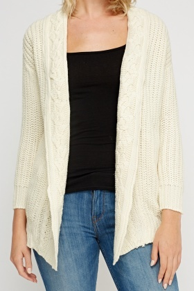 Cable Knit Trim Off White Cardigan