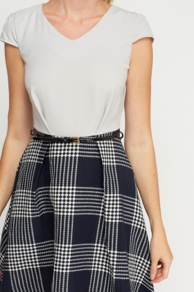 Contrast Belted Skater Dress