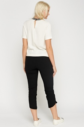 Detailed Hem Elastic Cropped Trousers