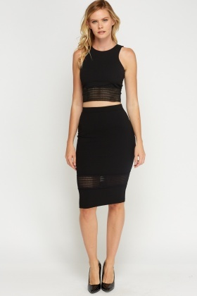 Elasticated Hem Black Bodycon Skirt
