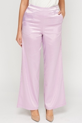 Lilac Silky Wide Leg Trousers