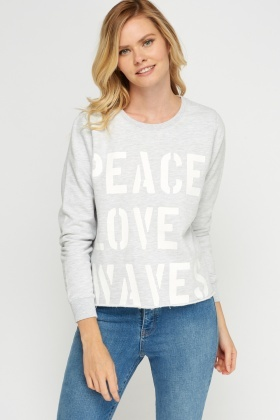 Logo Printed Front Sweater