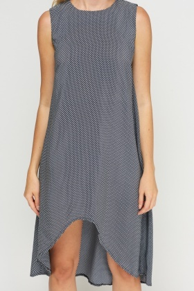 Mono Printed Dip Hem Dress