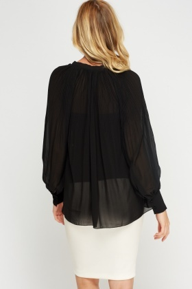 Pleated Sheer Blouse