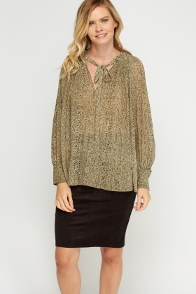 Pleated Speckled Blouse