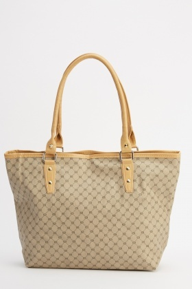 Contrast Handle Printed Tote Bag