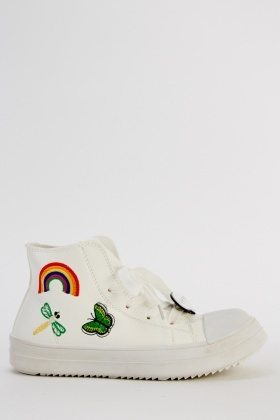 Embroidered High Top Trainers