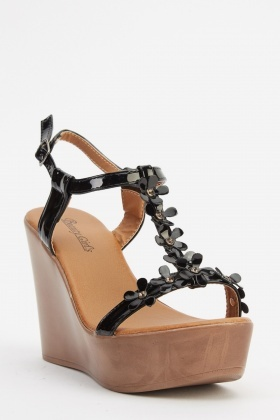 Floral T-Bar Wedged Sandals