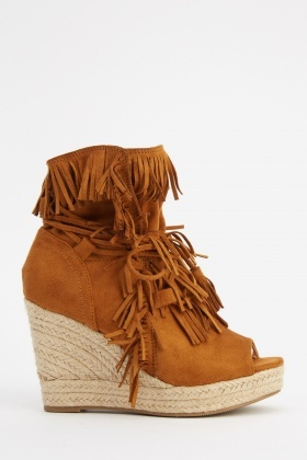 Fringed Suedette Espadrille Wedge Shoes