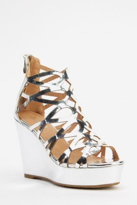 Holographic Cut Out Wedge Sandals