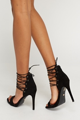 Lace Up Suedette Heeled Sandals
