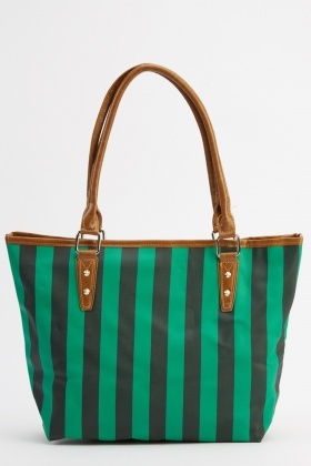 Stripe Printed Tote Bag