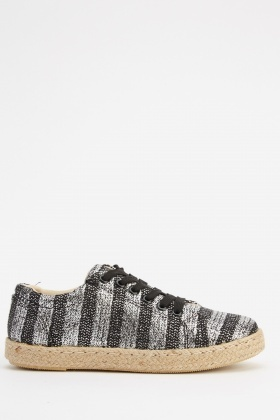Striped Metallic Lace Up Espadrille Shoes