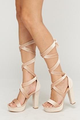 8258e82f54d1d8 Velveteen Tie Up Heeled Sandals - Just £5