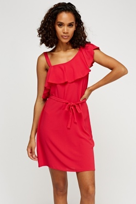 Asymmetric Frilled Shoulder Dress
